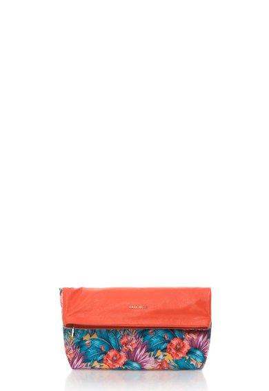 FashionDays.ro: Geanta pliabila rosu vermillion cu model floral Soft Mix COCCINELLE