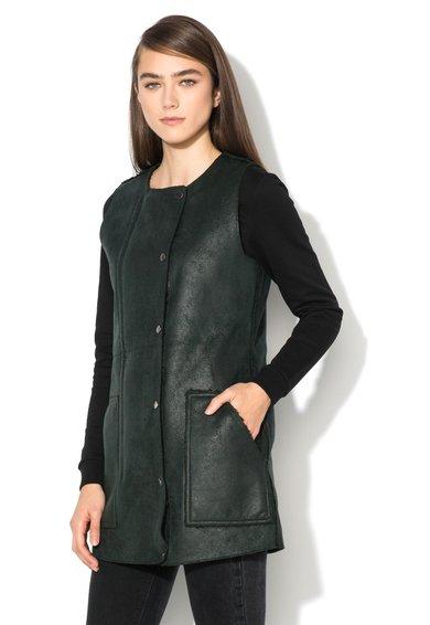 Vesta lunga verde de China de blana sintetica Hayley de la Only