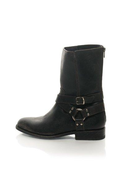 FashionDays.ro: Cizme scurte negre de piele si cu bareta harness Jayden Frye