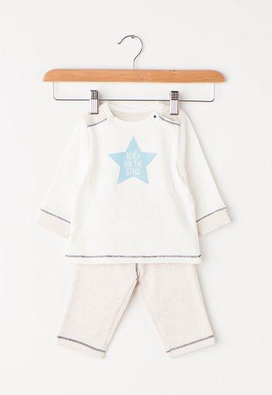 FashionDays.ro: Set alb cu grej de bumbac organic cu bluza si pantaloni ESPRIT