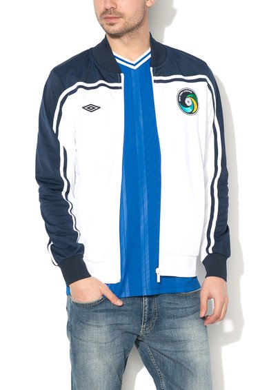 Bluza sport alb cu bleumarin cu fermoar de la Umbro