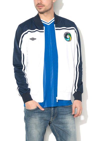 Umbro Bluza sport alb cu bleumarin cu fermoar