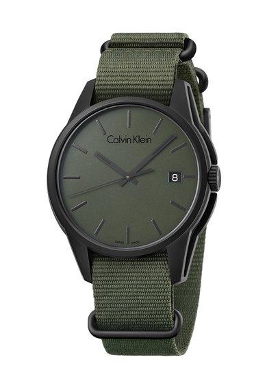 Calvin Klein Ceas verde militar cu negru