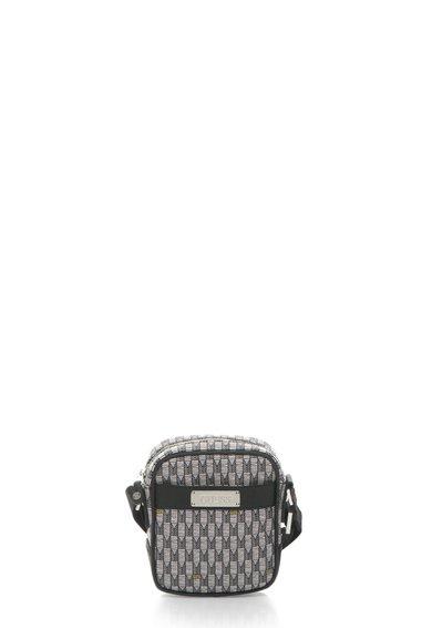 Geanta crossbody gri cu negru si imprimeu grafic de la GUESS