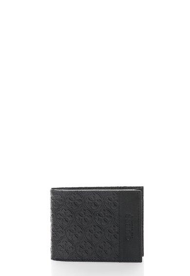 Portofel pliabil negru de piele cu model logo de la GUESS