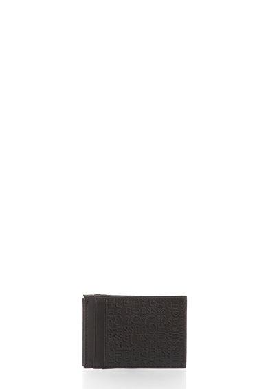 FashionDays.ro: Portcart maro inchis de piele cu model logo GUESS