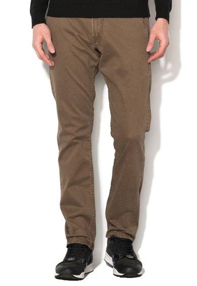 GUESS JEANS Pantaloni maro cu model grafic discret Myron