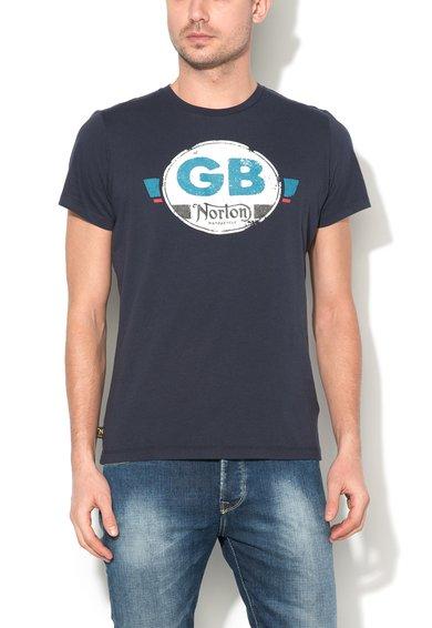 Tricou bleumarin cu imprimeu frontal Cameron de la Norton