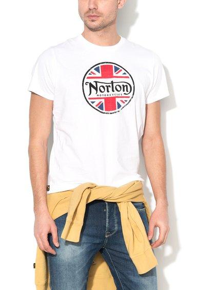 FashionDays.ro: Tricou alb cu imprimeu logo Cameron Norton