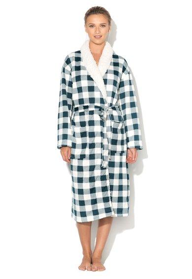 FashionDays.ro: Halat de baie alb cu verde si captuseala teddy Hamilton Sensei