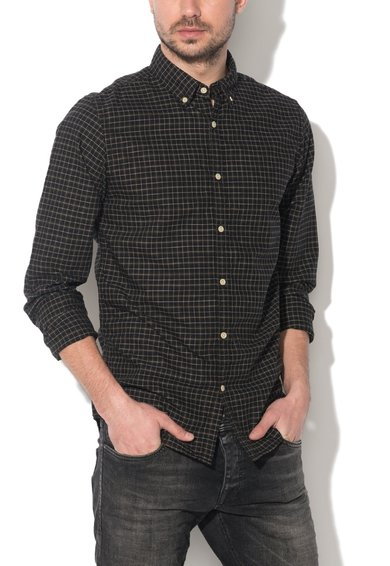 JackJones Camasa slim fit neagra cu model tip plasa Perry