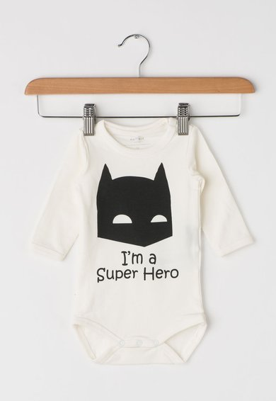 FashionDays.ro: Body alb fildes cu imprimeu Batman Luca Name it