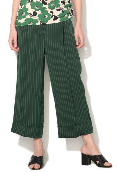 FashionDays.ro: Pantaloni culotte verde feriga cu dungi Galante Sportmax Code