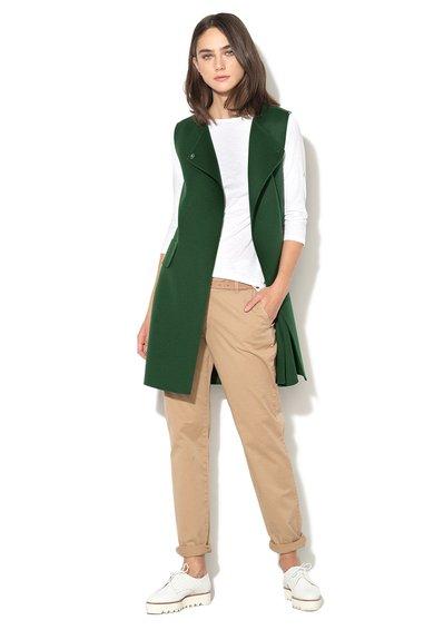 FashionDays.ro: Vesta lunga verde din amestec de lana realizata manual Sial Sportmax Code