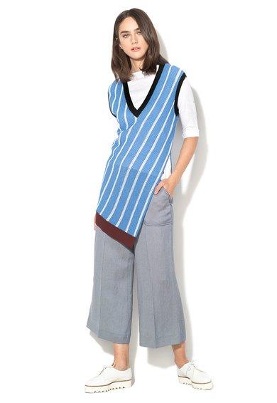 FashionDays.ro: Vesta albastru cu alb in dungi si perforatii Tela Sportmax Code