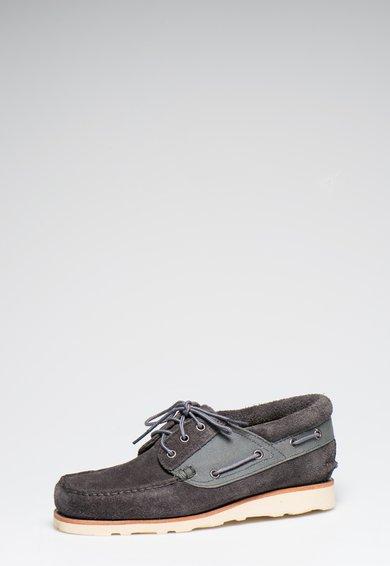 Timberland Pantofi boat gri inchis din piele intoarsa Abington