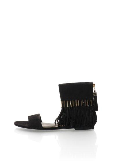 FashionDays.ro: Sandale negre de piele intoarsa cu franjuri Jessa Rachel Zoe