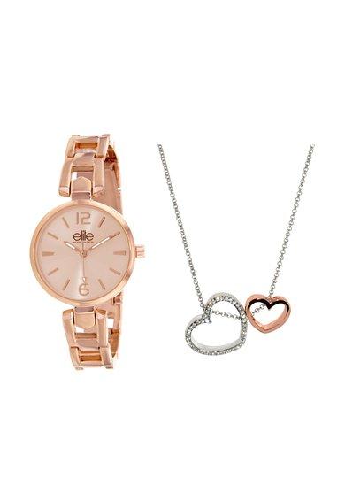 Set auriu cu argintiu de ceas si colier