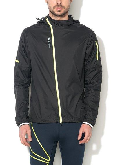 FashionDays.ro: Jacheta slim fit neagra pentru alergare cu fermoar OSR PACK Reebok