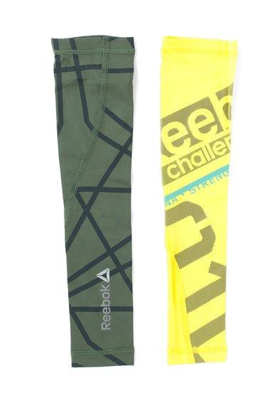 FashionDays.ro: Maneci de compresie verde militar cu galben neon DT Reebok