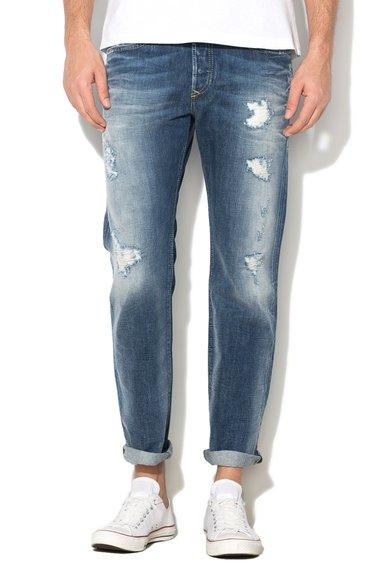Diesel Jeansi conici albastri cu aspect deteriorat Buster