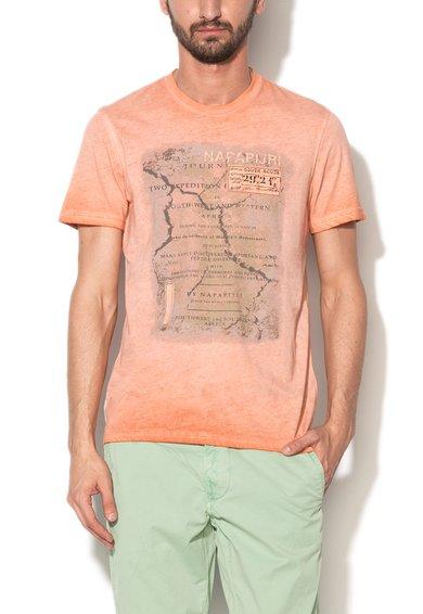 Napapijri Tricou roz somon cu imprimeu si aspect decolorat Stempost