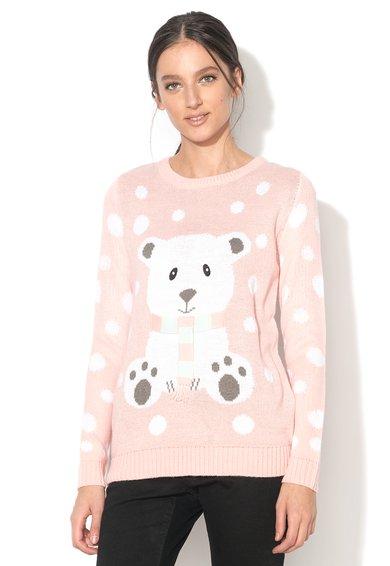 BRAVE SOUL Pulover roz deschis cu design urs polar