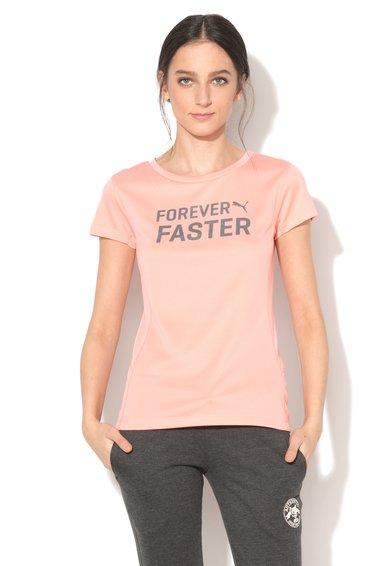 Tricou roz grenadine pentru alergare cu imprimeu text de la Puma