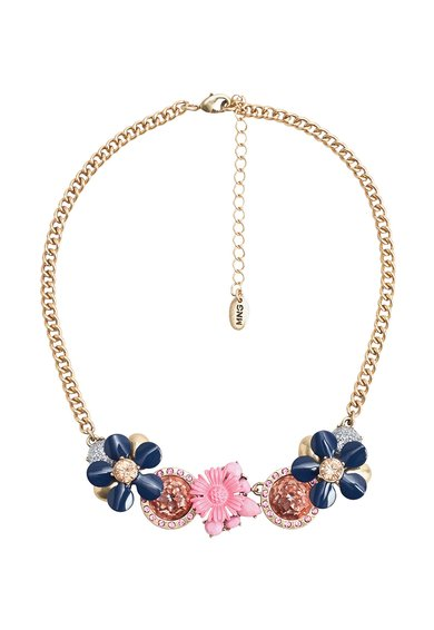 FashionDays.ro: Colier auriu rose cu pandantiv multicolor Donald MANGO