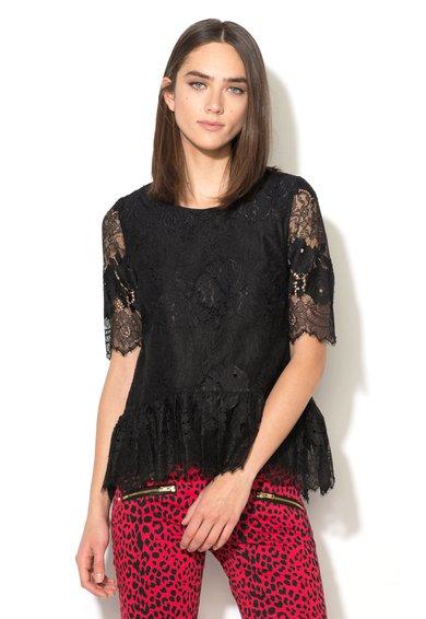 Juicy Couture Bluza neagra de dantela cu maneci scurte