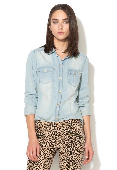 Camasa bleu din chambray cu aspect decolorat de la Juicy Couture
