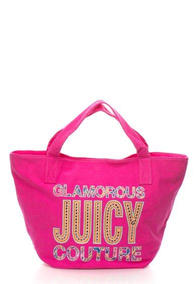 Juicy Couture Geanta tote fucsia cu imprimeu si strasuri