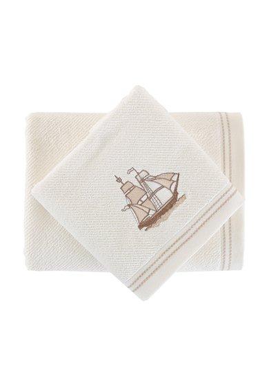 Leunelle Set de prosoape bej deschis cu o corabie brodata – 2 piese