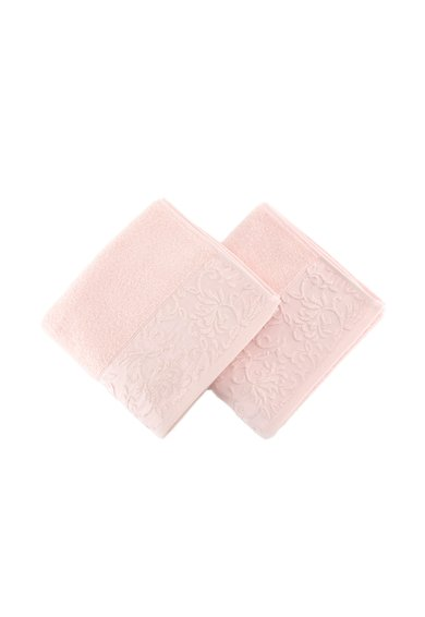 Set de prosoape de maini roz cu model damasc – 2 piese de la Leunelle