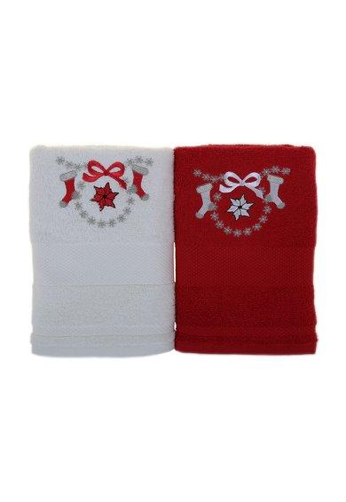 Set de prosoape alb cu rosu si broderie tematica – 2 piese de la Leunelle