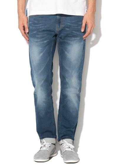 FashionDays.ro: Jeansi slim fit albastri cu aspect decolorat Oregon Mustang