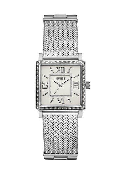 GUESS Ceas argintiu cu alb decorat cu cristale Highline