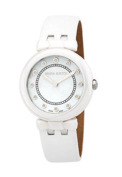 FashionDays.ro: Ceas alb ceramic cu cadran decorat cu diamante Nina Ricci