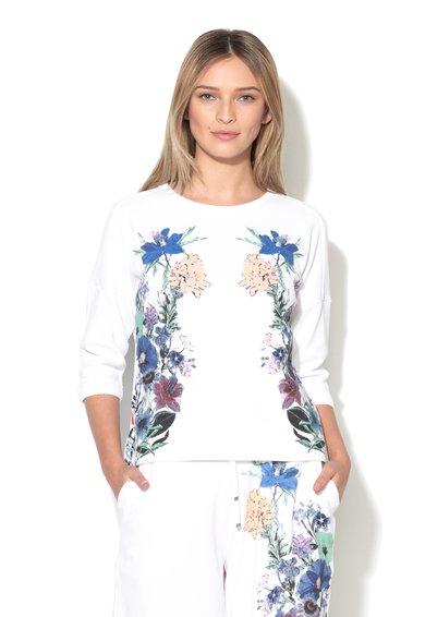 Marella Sport Bluza sport alba texturata cu imprimeu floral Magom