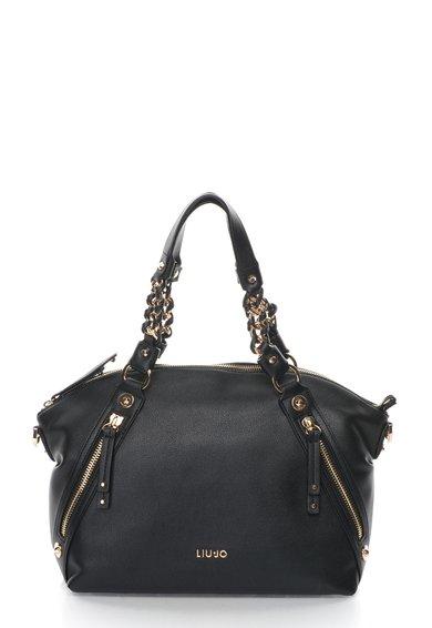 FashionDays.ro: Geanta neagra texturata cu detalii aurii Liu Jo
