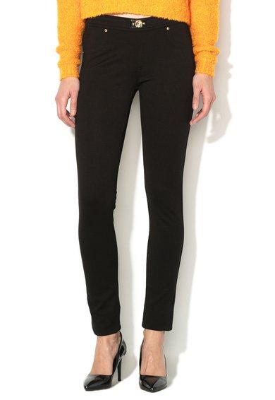 FashionDays.ro: Pantaloni negri elastici cu o curea decorativa VERSACE JEANS