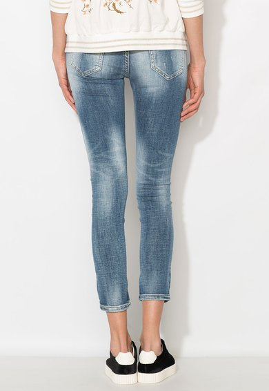 Zee Lane Denim Jeansi crop albastri cu pete decorative Femei image_2