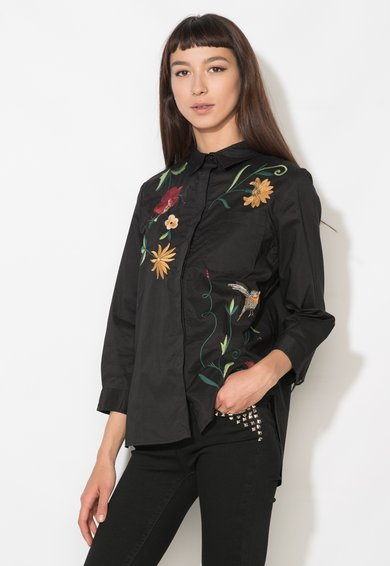 FashionDays.ro: Camasa neagra cu broderii florale Zee Lane Denim