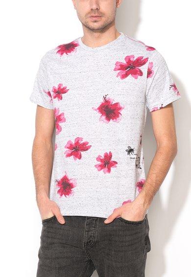 Desigual Tricou gri deschis melange cu model floral Florida