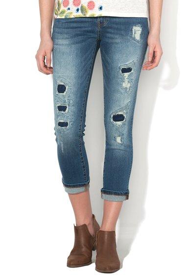 Desigual Jeansi skinny albastru decolorat cu aspect deteriorat