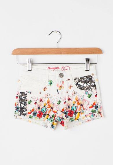 Desigual Pantaloni scurti albi din denim cu imprimeu si paiete Abad