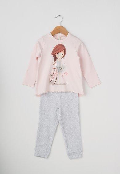 Pijama roz deschis cu gri melange