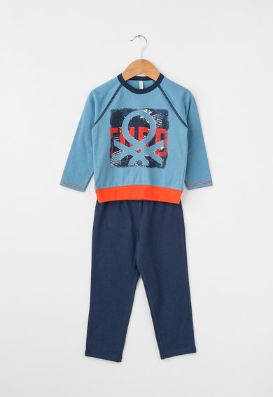 Pijama in doua nuante de albastru cu logo de la Undercolors of Benetton