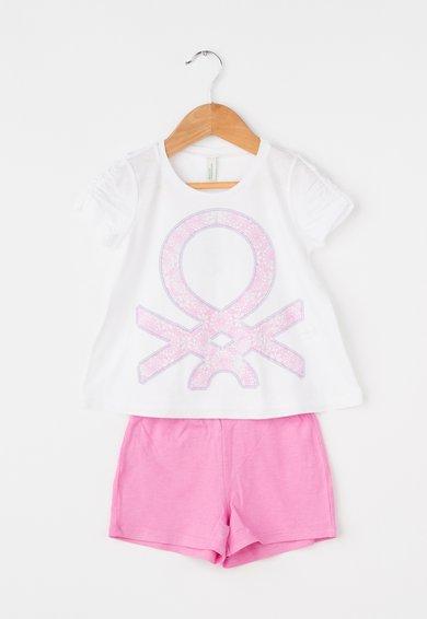 Pijama alb cu roz cu logo de la Undercolors of Benetton