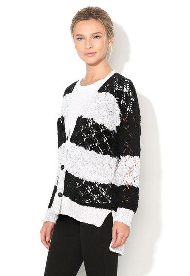Sisley Cardigan alb prafuit cu negru tricotat cu perforatii